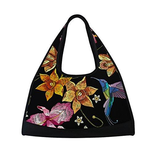 AHOMY Sports Gym Bag Flower Hummingbirds Embroidery Duffel Bag Travel Shoulder Bag by AHOMY