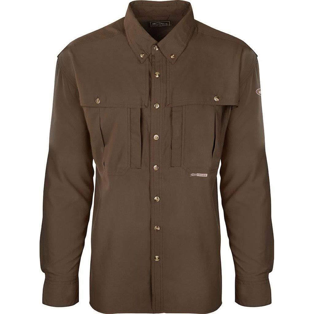 Drake Mens Long Sleeve Flyweight Solid Wingshooter Shirt (Olive 4X) by Drake