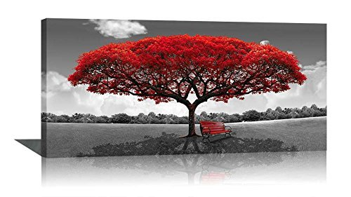 Large Black and White Picture Wall Art Framed Canvas Print Red Tree Bench Decor Modern Artwork for Living Room Bedroom Home Decoration