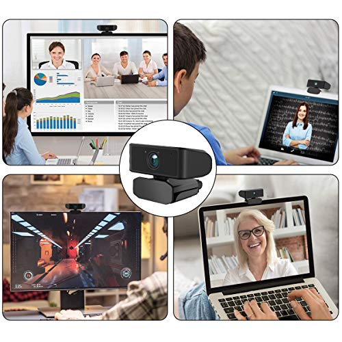 Webcam with Microphone1080P Full HD KKUYI for Video Live Streaming, USB 2.0 Desktop Laptop Computer Web Camera with Auto Light Correction, for Windows Mac OS, Conference, Gaming, Online Classes
