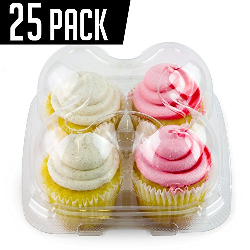 Chefible Premium 4 Pack Cupcake Container, Cupcake Box, High Dome, Extra Sturdy and Stackable! 25 Pack