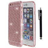 iPhone 6S Case, iYCK [3D Prism] Soft Flexible TPU Rubber Gel Crystal Clear [Studded Full Frame and Back] Diamond Bling Rhinestone Protective Shell Back Case Cover for iPhone 6/6S 4.7 inch - Rose Gold