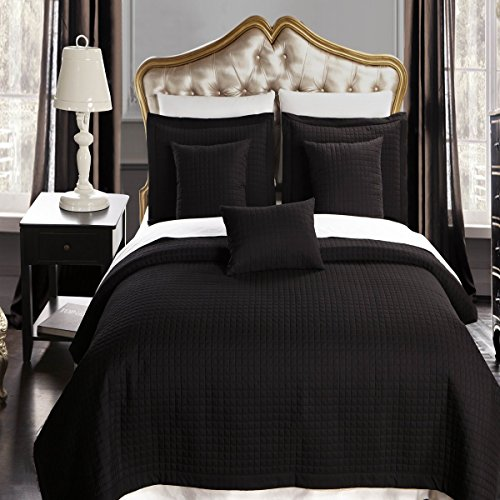 Twin / Twin Extra Long size Black Coverlet 2pc set, Luxury M