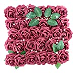 Anseal Artificial Flowers Roses 60pcs Fake Roses Real Looking Artificial Foam Roses Decoration DIY for Wedding Bouquets Centerpieces Arrangements Baby Shower Party Home Decorations (60pcs, Dark Red)
