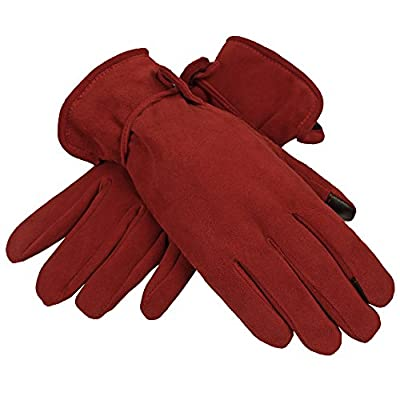 OZERO Womens Winter Gloves with Sensitive Touch Screen Fingers, Genuine Deerskin Suede Leather Windproof Thermal Glove - Keep Warm in Cold Weather for Women - Black/Brown/Purple/Red