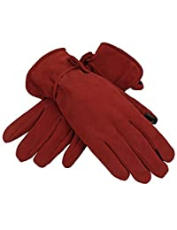 OZERO Winter Texting Gloves for Women with Touch Screen Fingertips - Genuine Deerskin Suede Leather and Silky Velour Lining Ladies Thermal Glove - Keep Warm in Cold Weather - Red/Brown/Purple/Black