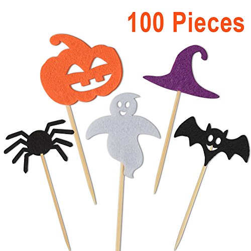 Kuuqa 100 Pcs Halloween Party Cupcake Toppers Picks Decorations Halloween Mini Pumpkin Spider Ghost Hat Bats for Cupcake Dish (Cute And Easy Halloween Cakes)
