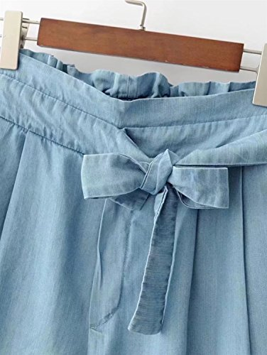 Mini Jeans vita da FuweiEncore Blu donna corda Pantaloni alta con Pantaloncini a awZ0X