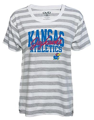 (Old Varsity Brand NCAA Kansas Jayhawks Women's Striped Game Day T-Shirt, Small, Grey/White)