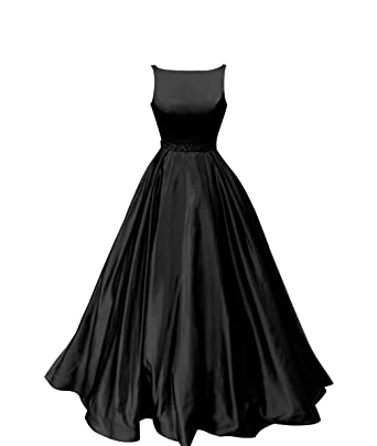 7196e9e23379 Staypretty Prom Dresses Long Satin Beaded A-line Formal Dress for Women  with Pockets 2019