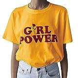 Farktop Girl Power T-Shirt Feminism Tee Girl Power Shirt 100% Unisex Cotton T-Shirt (XL, Yellow)