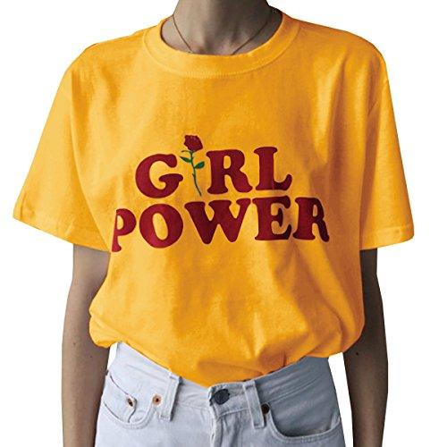 Farktop Girl Power T-Shirt Feminism Tee Girl Power Shirt 100% Unisex Cotton T-Shirt (M, Yellow)