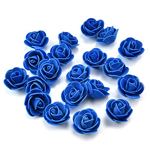 Silk flowers in bulk wholesale for crafts Mini PE Foam Rose Flower Head Artificial Flowers For Home DIY Headdress Wreath Supplies Wedding Party Decoration Fake flower heads 50Pcs/lot 3 cm (royal blue) ()