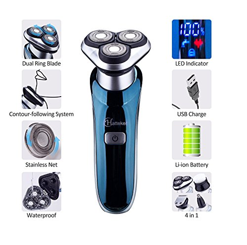 Hatteker 4 in 1 Electric Razor for Men Rotary Shavers Electric Shaver Waterproof Facial Brush Precision Trimmer Nose Trimmer CordlessUSB Rechargeable Birthday Gifts Anniversary Gifts Fathers Day Gift by Hatteker (Image #2)