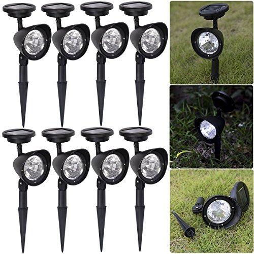 8PC 4-LED Solar Spot Light Outdoor Garden Lawn Landscape LED Spotlight Path Lamp