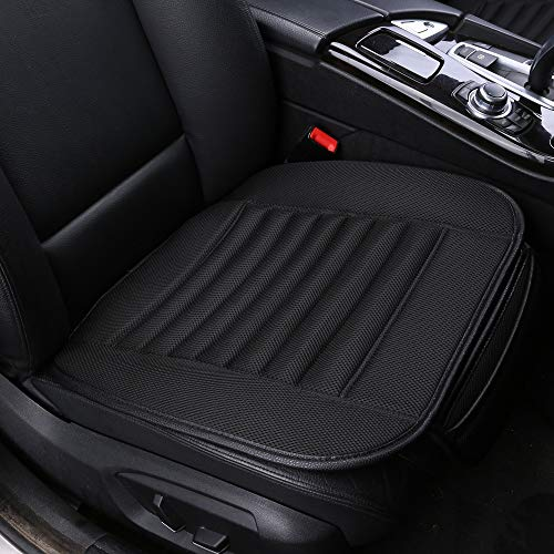 Car Seat Covers,BambooLady Universal Car Seat Covers,Grid Linen Bottom Seat Covers For Cars,Built-in Bamboo Charcoal Particles,Comfortable Ventilated [1Pc Black Front Seat] ()