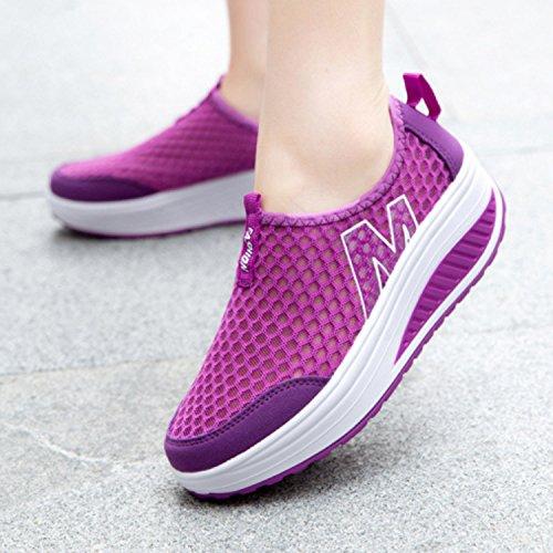 Slip Women's Toning Walking Purple Mesh Bigcount On Sneaker Fitness Platform Out Lightweight Shoes Work Uw0F1g1q