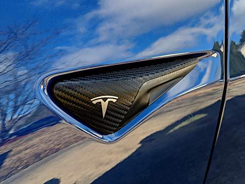 - EV Wraps Tesla Side Light Chrome Delete Wrap - Carbon Fiber