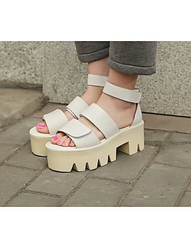 ShangYi Womens Shoes Cowhide Platform Creepers / Round Toe Sandals Outdoor / Casual Black / Pink / Beige Beige