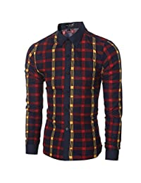 Men's Cotton Blended Casual Plaid Long Sleeve Slim Button Down Dress Shirt
