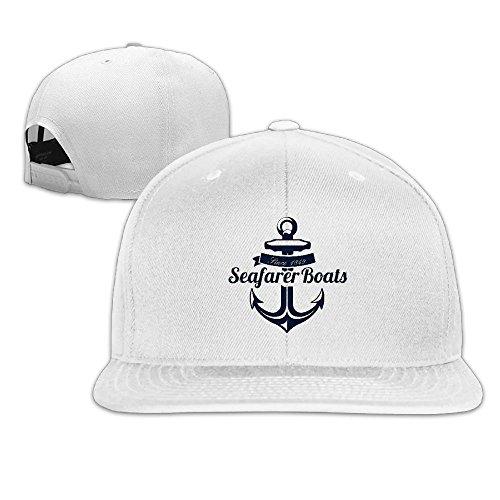 Chain Cap White Anchor (XsWu Cartoon Anchor Flat Bill Snapback Adjustable Cross-country Cap White)