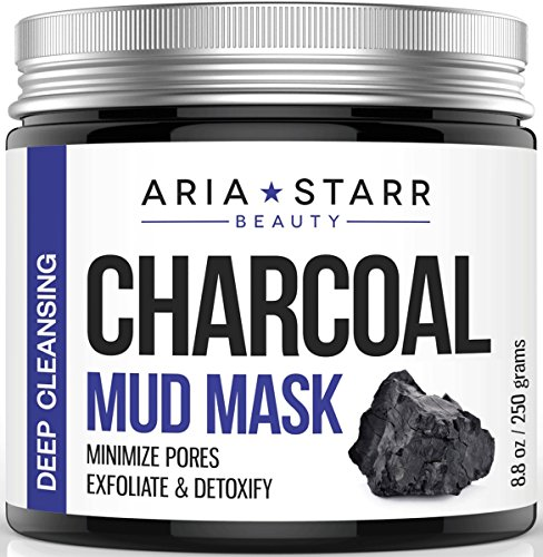 Aria Starr Activated Charcoal Mud Mask For Face, Acne, Oily Skin & Blackheads - Best Natural Facial Pores Minimizer, Reducer & Cleanser Treatment - Not A Peel Off Mask - 8.8 oz