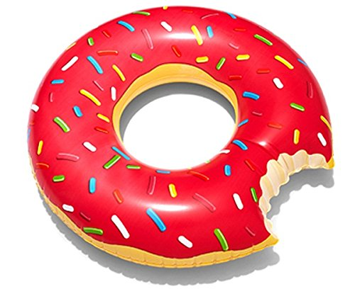 Red Donut - Inflatable Red Strawberry Frosting Donut Pool Float (Red Frosting Dount)
