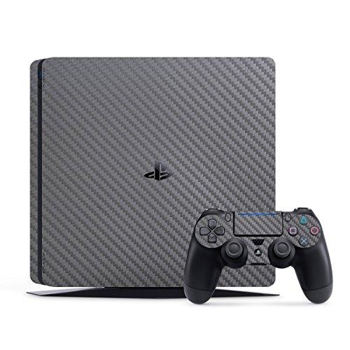 SopiGuard Gunmetal Carbon Fiber Precision Edge-to-Edge Coverage Vinyl Skin Wrap for Sony Playstation 4 PS4 Slim