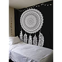 Black And White Tapestry, Wall Hanging Tapestry, Mandala Tapestries, Indian Traditional Cotton Printed Bohemian Hippie Large Wall Art (DREAM CATHCER)