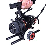 Commlite CS-S5 Aluminum Alloy Camera Video Cage with Handle Grip, Follow Focus, Film Movie Making Kit for Sony A7/A7II/A7RIII/A7R/A7RII/A9, Panasonic GH5, GH4, GH3