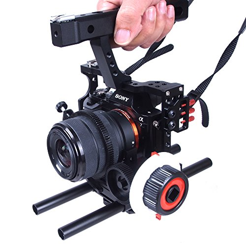 Commilte CS-S5 Film Movie Making Camera Video Cage +Top Handle Grip + Follow Focus for Sony A9 A7/A7II/A7s/A7r/A7Rii,Parasonic GH5 GH4 GH3(CS-F0+CS-V5) (Updated Version) by Commlite