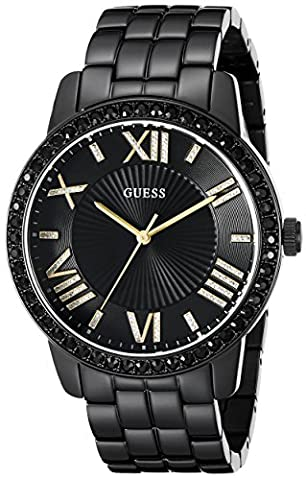 GUESS Women's U0329L5 Classic Black & Gold-Tone Watch with Roman Numerals (Gold Tone Metal Watch)