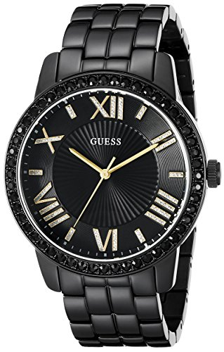 GUESS Women's U0329L5 Classic Black & Gold-Tone Watch with Roman Numerals