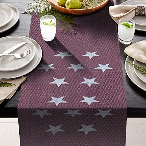 (AAYU Brand Premium Purple Table Runner Burlap with White Printed Stars | 12 inch x 108 No-Fray Eco-Friendly, Natural Jute Product)