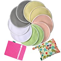 Bamboo Nursing Pads-Anyos- 4.7in (12cm) 10 Pack With Laundry Bag and Wet Bag,...
