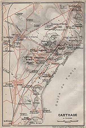 Superior Von Karthago Boden Plan. Ancient Von Karthago Tunesien Ruins. Carte.  BAEDEKER,