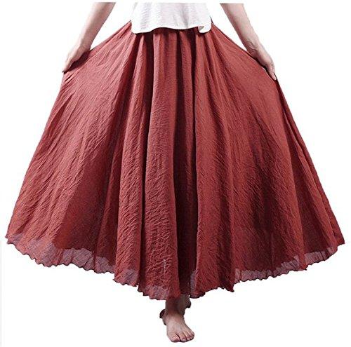 Labaqiangj Women's Bohemian Style Elastic Waist Band Cotton Linen Long Maxi Skirt Dress Waist 23.0