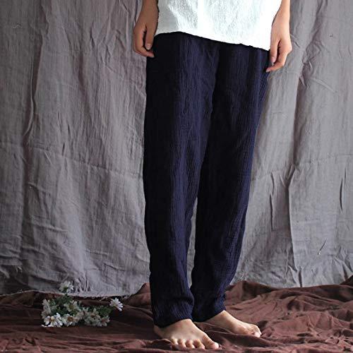 Color : White, Size : M MTOFAGF Women Summer Artistic Cotton Linen Comfortable Multicoloured Pure Color Pants MTOFAGF Brings You The Best