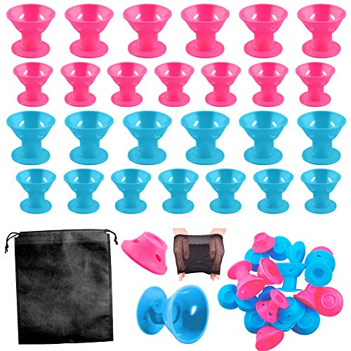 WXJ13 40 Pieces Silicone Hair Curlers Set, 20 Pieces Large and 20 Pieces Small Silicone Hair Rollers Include 2 Net Cap and 1 Storage Bag