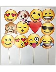 JZK Set 12 x Emoji feest photo booth fotohokje rekwisieten papier masker met stok voor verjaardagsfeest bruiloft afstuderen decoraties feestbenodigdheden