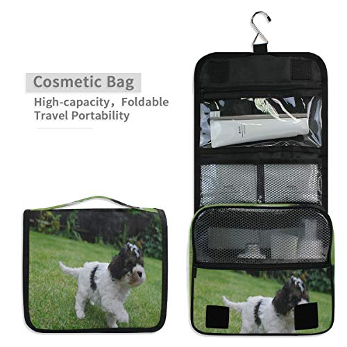 (Toiletry Organizer Wash Bag,Cute Stunning Cavachon Puppies Portable travel bathroom shower bag Deluxe Large Capacity Waterproof Pouch Kit with Hook for Men and Woman)