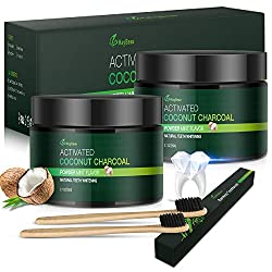 Activated Charcoal Teeth Whitening Powder, MayBeau [2 Pack] Coconut Oil Whitening Powder (Free 2 Bamboo Toothbrushes), Safe and Natural Mint Whitener for Teeth (120g/4.2 Ounce)-No Flavor