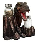 Atlantic Collectibles Prehistoric Dinosaur T-Rex Head Wine Bottle And Salt Pepper Shakers Holder Figurine Set