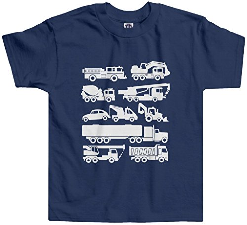 Threadrock Little Boys' Trucks Toddler T-Shirt 3T Navy