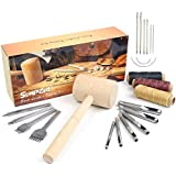 Leather Kit 22 PCS SIMPZIA Leather Hand Stitching Tools Kit with 4mm Prong Punch, Hollow Punch Set and Wooden Hammer for DIY Sewing