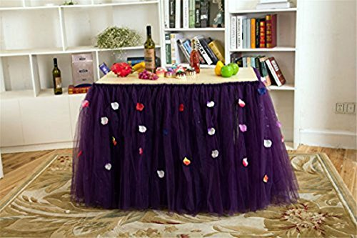 Stuffwholesale Baby Shower Birthday Party Tulle Table Skirt Handmade Tutu Flower Petal Table Decoration (Purple)