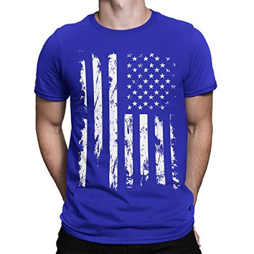 (SpiritForged Apparel Distressed White USA Flag Men's T-Shirt, Royal Large)