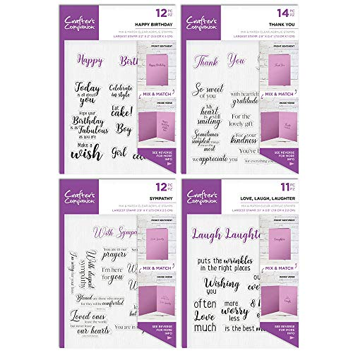 Crafter's Companion Sentiment & Verses Clear Stamp Bundle One, Size from Crafter's Companion