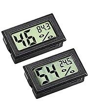ZHITING hygrometer meting, mini LCD digitale monitor, buitentemperatuur, vochtigheidsmeter voor humidors, kas en kelder, celkast, gemeten in Fahrenheit (° F) (2-pack)