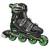 Roller Derby Boy's V-Tech 500 Button Adjustable Inline Skate, Black/Green, Size 6-9